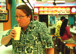 Glenn drinks a batido